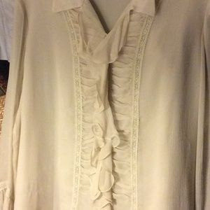 Silk ruched ruffle lace tunic in creme